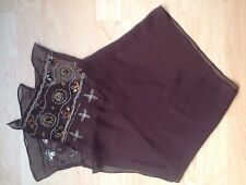 Brown Atmosphere Chiffon Scarf with two edges decorated 10 inches by 70 inches