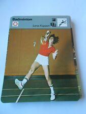 Fiche Card 1979  Badminton Lena Koppen la 1ere championne du Monde