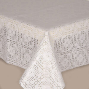 Traditional Lace White Crochet Look Floral Print Vinyl Table Cloth Wipe Clean