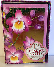10 Punch Studio ORCHIDS ON GOLD THANK YOU NOTE CARDS.    BOX OF 12.  BEAUTIFUL!