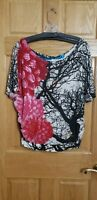 EXC DESIGUAL sz S WOMENS TOP BLOUSE  TUNIC SHIRT~BLACK WHITE TREES w/NEAT FLORAL