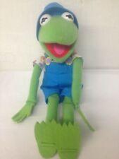 "New listing Kermit Frog Gardener Blue Overalls Hat Plush Stuffed 16"" 1993 Muppets"