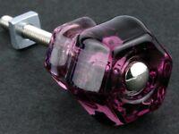 Purple Glass Cabinet Knobs Amethyst Drawer Pulls Vintage Depression Style Set 8