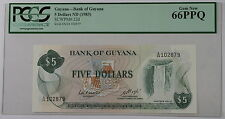 (1983) Bank of Guyana $5 Dollar Note SCWPM# 22d PCGS 66 PPQ Gem New