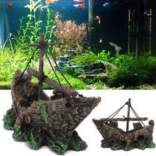 Wreck Sunk Ship Aquarium Ornament Sailing Boat Destroyer Fish Tank Decor pirate