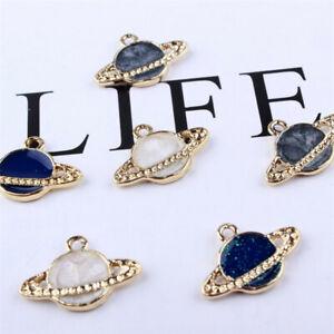 10Pcs 15*22mm Enamel Planet Universe Pendants Charm DIY Necklace Bracelet Making