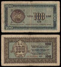 ZA.051} YUGOSLAVIA Croatia Istria Fiume Slovenia 100 lira 1945 VF-