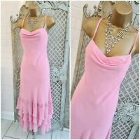 LIBRA 💋 UK 10 Y2K Pink Chiffon Layered Floaty Beaded Dress Mother of the Bride
