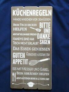 """Spruchtafel Planken Schild Wandschild in Retro Optik """" Küchen Regeln..."""""""