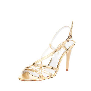 RRP €225 STELE Leather Slingback Sandals EU 38 UK 5 US 8 Metallic Made in Italy