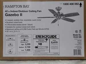 Gazebo II 42 in. Indoor/Outdoor Brushed Nickel Ceiling Fan by Hampton Bay