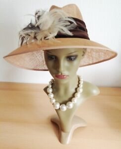 MOTHER OF THE BRIDE Statement Hat  Races Wedding Wide Brimmed Beige Brown