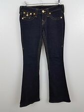 True religion 26 X 32 Joey flare dark wash gold sequin jeans pants flap pockets