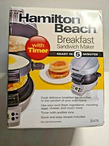 NIB Hamilton Beach Breakfast Sandwich Maker Silver 25478    7L