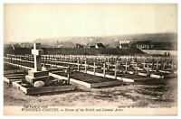 Antique WW1 military printed postcard Wimereux Cimetry British & Colonial Army