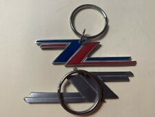 Set of 2 ZZ Top Key Chain RED/ DEEP BLUE and Plain Silver Solid Metal 3 1/4