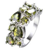 Woman Handmade Jewelry Olive Peridot Gemstone Silver Ring US Size 6-10 RW1030