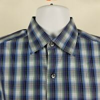 Ermenegildo Zegna Mens Blue Check Plaid L/S Dress Button Shirt Sz Medium M ITALY