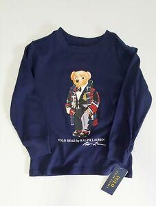 Polo Ralph Lauren Boys Moto Bear Cotton Jersey Long Sleeve T Shirt Navy Sz 5-NWT
