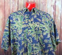 Tori Richard Mens S/S Hawaiian Camp Shirt Size 4XB Blue Parrot Cotton Lawn