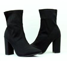 scarpe donna stivaletti tronchetti tacco alto elasticizzati  nero RQS