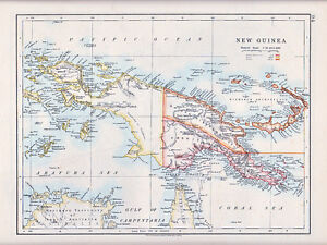 1912 MAP ~ NEW GUINEA ~ SHOWING FOREIGN POSSESSIONS