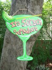 MARGARITA GLASS TROPICAL TIKI DRINK BAR  HUT POOL SIGN PLAQUE