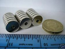 "10 of 1/2"" (13mm) Countersunk Ring Magnets NdFeB / Neodymium Powerful Strong"