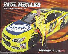"2013 PAUL MENARD ""SCHROCK"" #27 NASCAR SPRINT CUP SERIES POSTCARD"