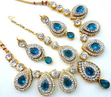RAMA GREEN GOLD TONE INDIAN BOLLYWOOD PARTY WEAR ETHNIC NECKLACE JEWELRY SET