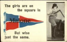 Malone NY Pennant Pretty Girl w/ Square Tool c1910 Postcard