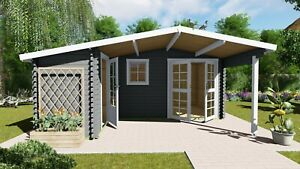 Gartenhaus Holz 2 Raum Vordach Blockhaus 5.1x4.8+2.98M 40mm Birmingham EB40005L