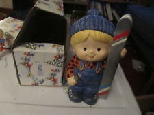 Enesco Country Cousins Scooter with skis bank with box