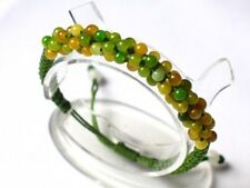 Adjustable Delicately Braided 96 Light Green Yellow Jade Beaded String Bracelet