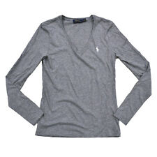 Ralph Lauren T Shirt Womens Jersey V Neck Pony Logo Sport Long Sleeve Nwt