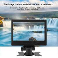 7in Portable 1080P HD LED TFT LCD Display Monitor Screen HDMI VGA AV 800:1 Stand