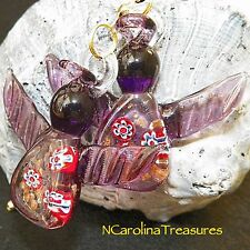 PURPLE CHRISTMAS ANGEL HOLIDAY MURANO GLASS CEILING FAN LIGHT SWITCH PULLS PAIR