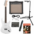 E-Gitarre Set Combo Verstärker Amp Stimmgerät Ständer Gurt Band Kabel Set weiß for sale