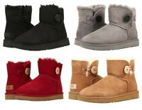New UGG Women's Mini Bailey Button II Soft Boots Shoes Black Chestnut Grey Red