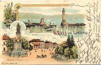 Lindau am Bodensee, Farb-Litho mit Bahnhof u. Postamt, 1900