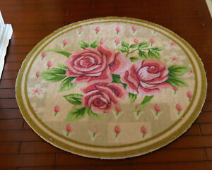 Pink Rose Floral Nice ROUND 1/12 Scale Beautiful Dollhouse Miniature Rug
