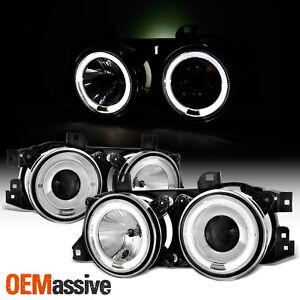 Fits 89-95 BMW E34 E32 5-Series 7-Series Twin Halo Projector Headlights Lamp Set