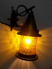 Early 1900's Copper Porch Light Sconce, Amber Glass, Ready 2 Use, Free S/H