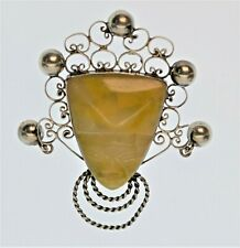 Stone Warrior Face Pin Large Mexican Silver and