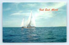 Postcard Full Sail Ahead Sailboat Dual Masts Sailing K7