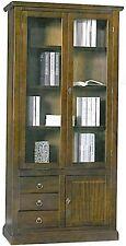 libreria 2 ante vetro, e 3 cassetti,legno massello, arte povera, mobile ufficio
