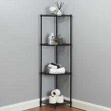 4 Tier Corner Bathroom Storage Shelves Metal Black Shelving Unit Display Rack