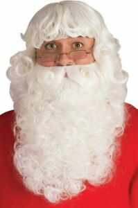 Rubie's Deluxe Santa Beard And Wig Set, White, One Size