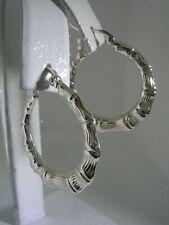 Bamboo Hoop Earrings in Sterling Silver
