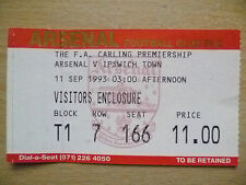 Ticket- 1993 FA Carling Premiership; ARSENAL v IPSWICH TOWN, 11 Sept 1993